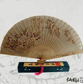 【木扇子中國風-直徑23CM-1個/組】木扇子中國風仿檀香扇緬香扇工藝禮扇鏤空日用摺扇-30029