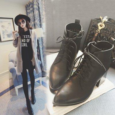 GOGO SHOP☆╭♥GT0028♥明星同款短靴尖頭中跟粗跟系帶短靴 女馬丁靴 高跟單靴裸靴 高跟女靴女鞋 繫帶高跟鞋