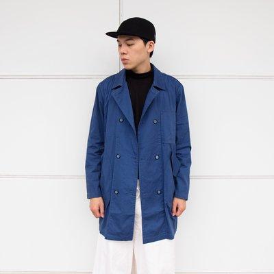 【 WEARCOME 】WISDOM DOUBLE-BREASTED COAT 雙排扣 長板 風衣外套 / 藍色