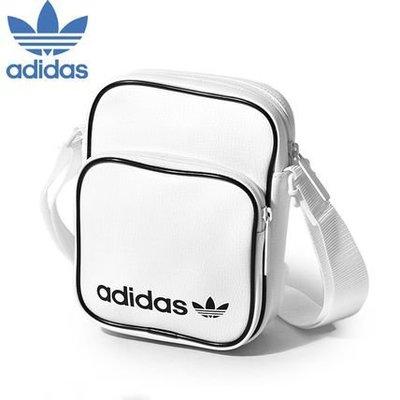 =E.P=Adidas 全白色 三葉草 皮革 側背包 腰包 肩背包 隨身小包 愛迪達 Dv2491