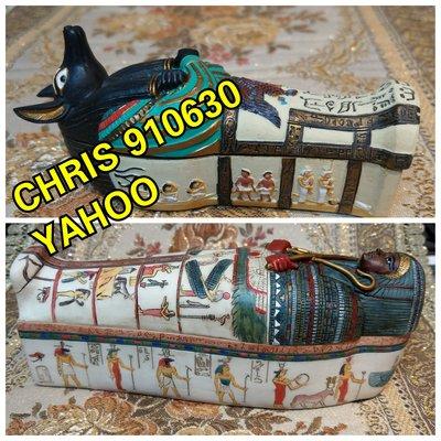 [埃及風,手工彩繪- 祭司 木乃伊 棺材 ]- 阿努比斯 / 底比斯人.高度約19/11公分]-2款合購 特價出清