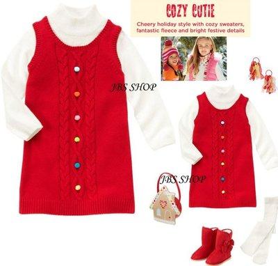 GYMBOREE節慶紅彩色毛線球白袖假2件式毛衣洋裝3.4.5.6.7.8.9.10.12yrs!*JBS SHOP*