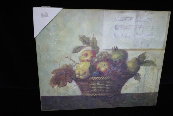 【布拉格歐風傢俱】鄉村風仿油畫筆觸木底框畫 樂譜 水果畫 居家廚房掛飾