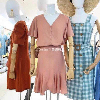 Lifetime~~韓國專櫃韓國2019夏季氣質V領寬松短袖襯衫女高腰顯瘦荷葉邊半身裙兩件套
