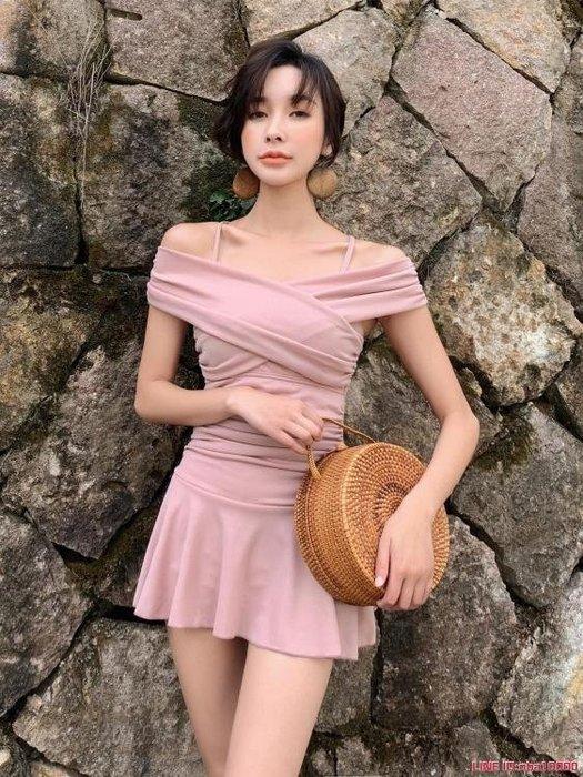 新款爆款裙式連體泳衣女保守顯瘦遮肚一字肩學生韓國溫泉泳裝CY潮流站