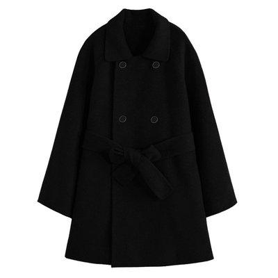 毛呢外套 中長版大衣-純色寬鬆綁帶連帽女外套73wd20[獨家進口][米蘭精品]