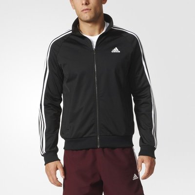 ADIDAS 男 ESSENTIALS  基本款 三條線 慢跑 訓練 針織外套 立領夾克 BR1024 黑白 現貨 公司