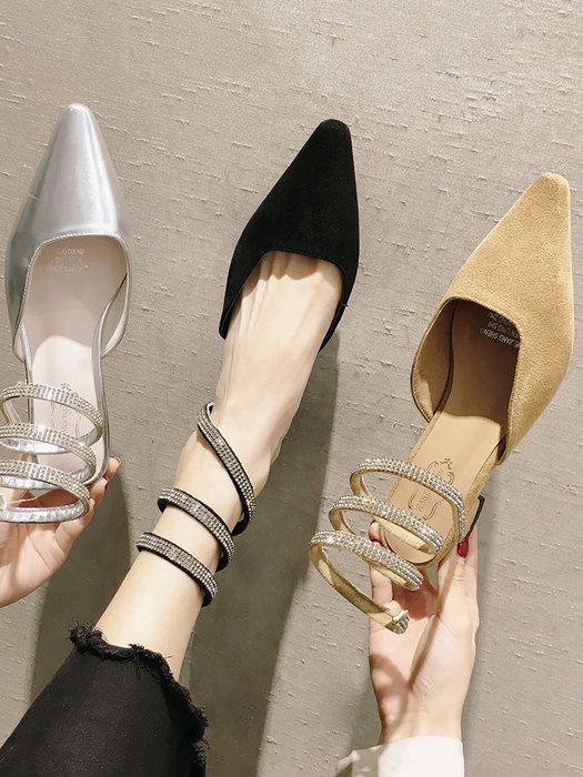 小尤家~ins涼鞋女新款性感蛇形纏繞粗跟高跟包頭涼鞋仙女風羅馬鞋潮