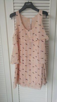 原價$20200  香奈兒首席設計師拉格斐【Karl Lagerfeld 】100% Silk 粉橘印花短洋裝