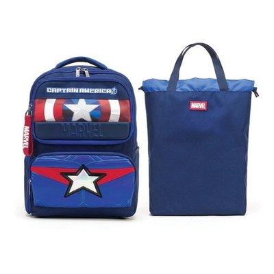 ♀高麗妹♀韓國 MARVEL 復仇者聯盟 漫威  美國隊長 雙肩護背透氣兒童套裝背包.書包+提袋(預購)