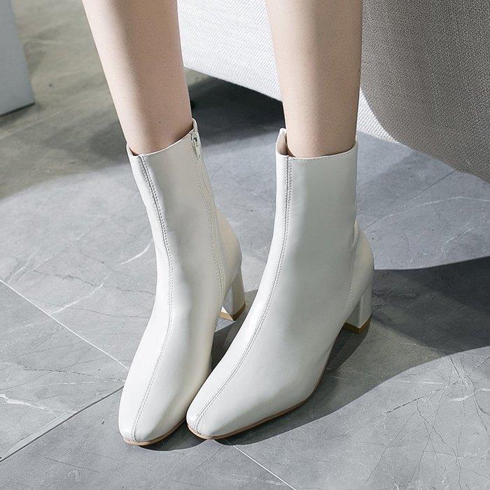 冬季保暖女靴 馬丁鞋 長靴機車靴 韓版百搭ins百搭馬丁靴女秋冬方頭粗跟短靴女高跟靴子瘦瘦靴