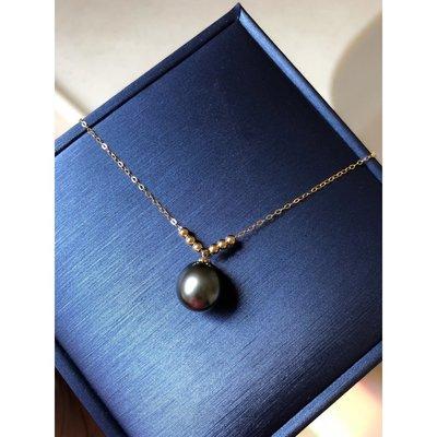 《巴黎拜金女》進口大溪地黑珍珠+ Akoya!18K金珍珠吊墜!珍珠項鍊鎖骨鏈