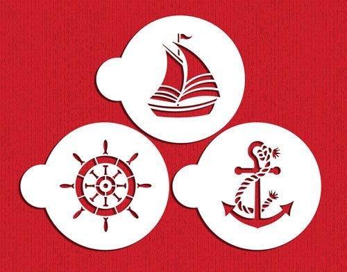 【超值特惠】*愛焙烘焙* Designer STENCILS c895 航海圖樣模板 航海 船錨