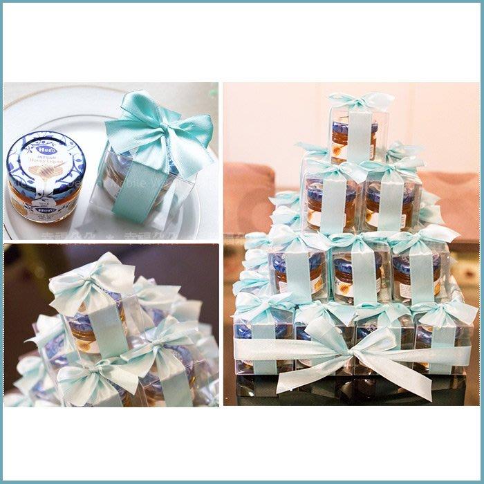 婚禮週邊-幸福朵朵【甜蜜蜜「透明盒裝」瑞士進口hero蜂蜜小禮盒 x 30盒 (Tiffany色緞帶)-送客小禮婚禮小物