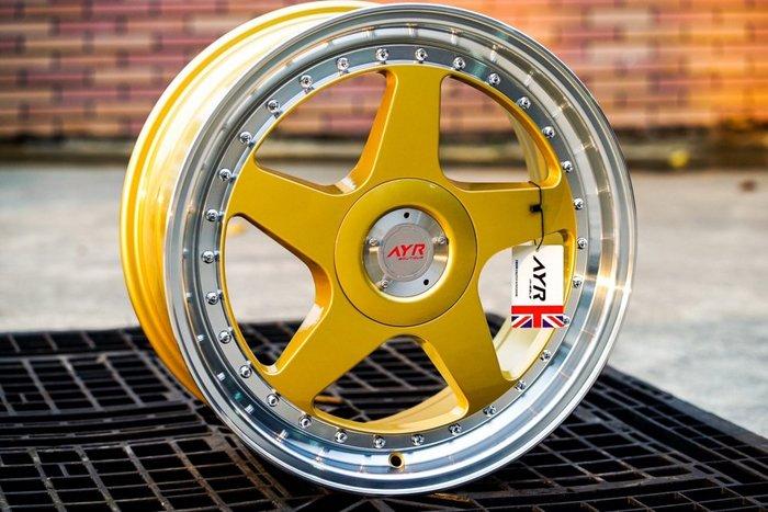 +OMG車坊+全新順謚鋁圈 AYR04 18吋鋁圈 5孔全系列 金色車邊 類經典款OZ鋁圈