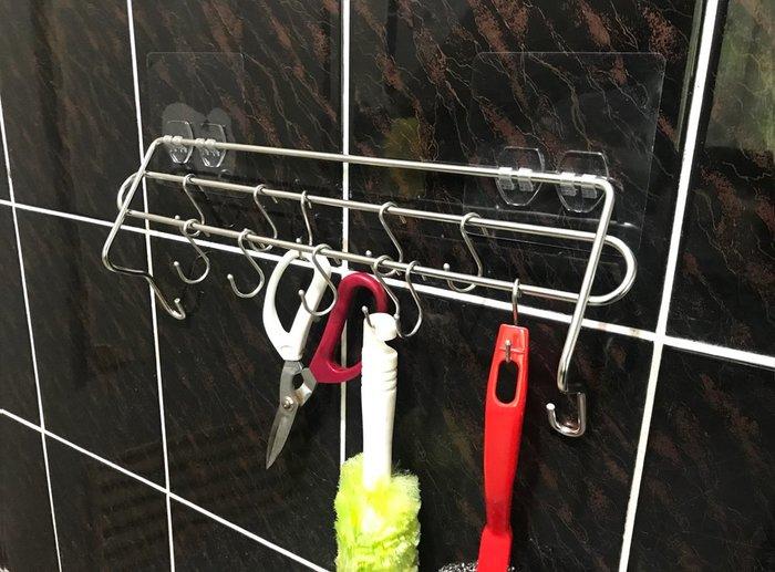 *新世代免鑽孔*不鏽鋼掛勾架,內附12只S掛勾,也可作為抹布架用。304不鏽鋼廚房架 廚房收納架 置物架 吊掛架 排勾
