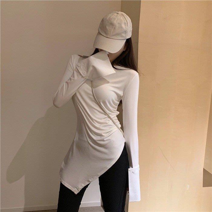 小香風 短袖T恤 時尚穿搭 港味女裝夏款時尚百搭設計感修身 顯瘦 不規則下擺中長款t恤潮