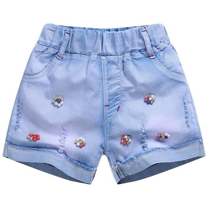 兒童牛仔短褲女童薄款熱褲子秋冬季新款中大童裝三分褲小女孩