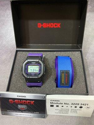 Casio Gshock dw-5600ths-1 套裝 撘配了多一條可替換布錶帶和黏扣膠帶