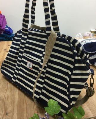 日本水手風條紋旅行兩用斜背手提大背包