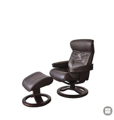 【 BRASS PARK 銅公園 】挪威Fjords皮革休閒椅(含腳凳)二手/休閒椅/工作椅/單人沙發/主人椅/躺椅