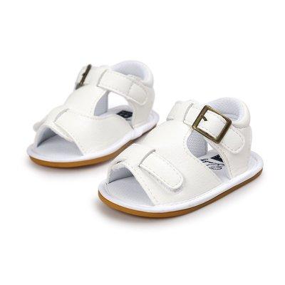 寶貝倉庫~軟膠~休閒白色涼鞋~學步鞋~...