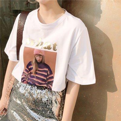春夏新款女裝港風字母美女頭像印花寬松顯瘦學生短袖打底T恤上衣