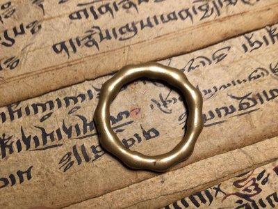 小西藏 藏區拉薩銅唸珠環老件 磨損開門 利瑪黃銅