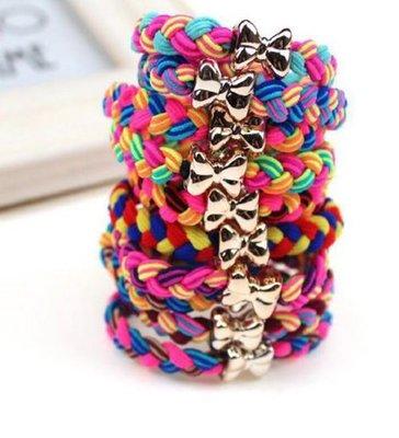 手工編織辮子髮繩 / 個性蝴蝶結金色麻花辮髮圈 39元(十條)