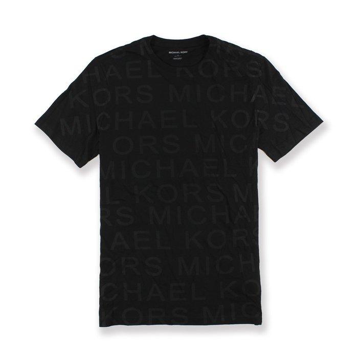 美國百分百【全新真品】Michael Kors 短袖 T恤 MK 上衣 T-shirt 滿版logo 黑 S號 I090