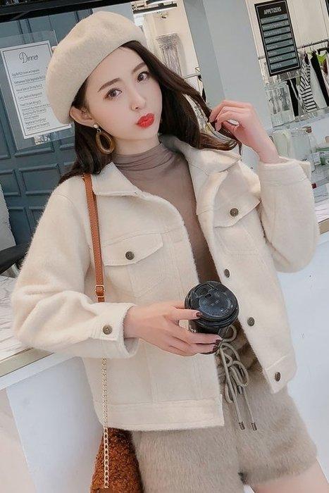 ~Linda~特價新款韓版時尚翻領純色夾克短外套百搭寬鬆毛毛短款外套女