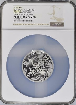 【鑒 寶】(世界各國紀念幣)加拿大2016年流行藝術加拿大鵝2盎司銀幣NGC-PF70 HNC2469