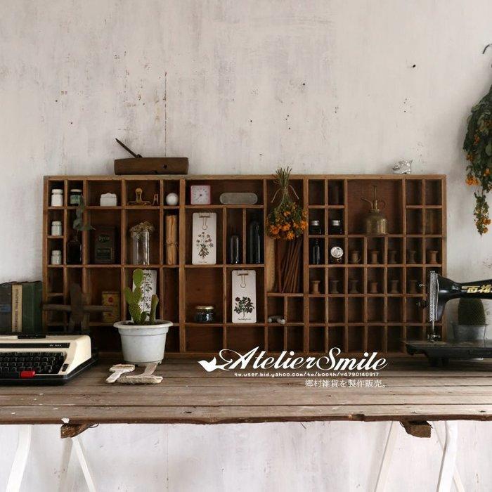 [ Atelier Smile ] 鄉村雜貨 日本直送 復古作舊 手作實木鉛字格 手帳膠帶壁掛架 # 大款 (免運)