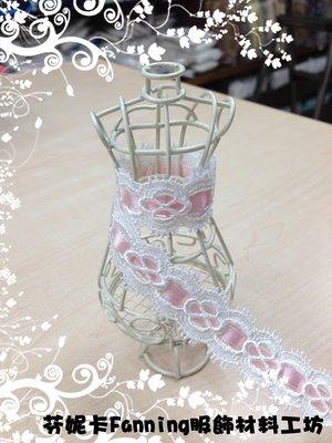 【芬妮卡Fanning服飾材料工坊】熱銷款 蕾絲x緞帶 拼接 棉布蕾絲 刺繡花邊 DIY手工材料 1碼入 (A/B款)