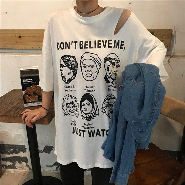 夏娃 SHINY BABY* 寬鬆印花破洞短袖T恤  3色 [329C90695]