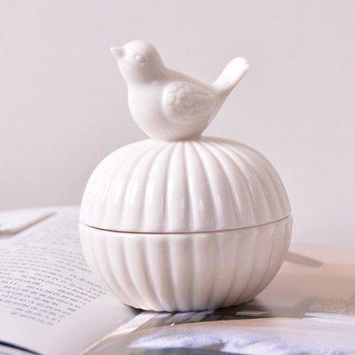 ~事務所您好~zakka風~ 白色陶瓷小鳥首飾盒  收納盒
