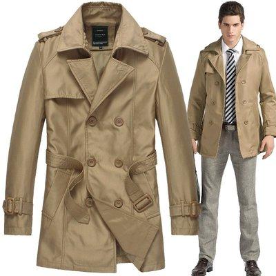 男雙排釦風衣西裝外套外貿男裝雙排扣腰帶翻領風衣外套 男士英倫風肩章修身男風衣FY806