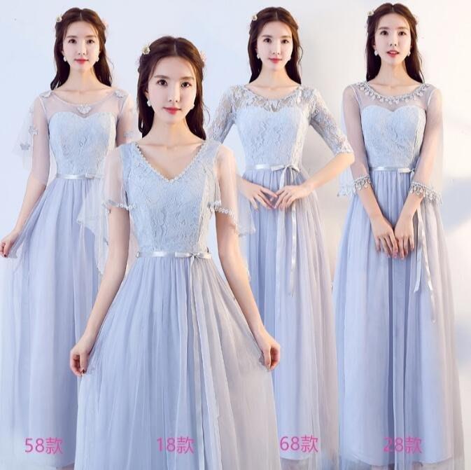 洋裝 伴娘服長款 顯瘦伴娘裙 姐妹團畢業表演灰色晚禮服—莎芭