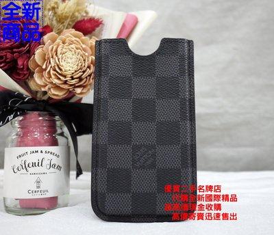 優買二手精品名牌店 LV N63184 黑 棋盤 格紋 手機 iPhone 5 證件 識別證 名片 悠遊卡 夾 套 全新