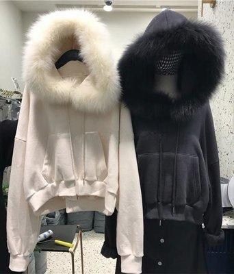 韓版休閒女裝毛領連帽上衣長袖帽T