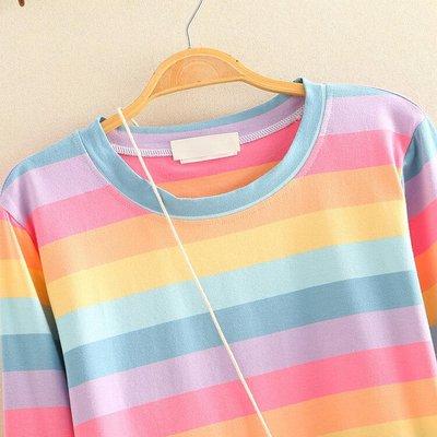 上新!日系風早秋新款長袖T恤女彩虹條紋花朵包上衣甜美百搭寬松棉T2020t