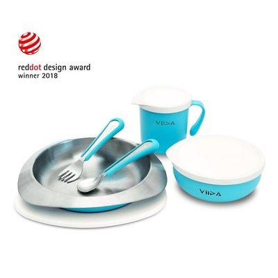 【現貨】QB選物 ❤ VIIDA ❤ Soufflé  抗菌不鏽鋼餐具組-寶貝藍