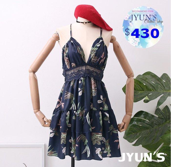JYUN'S 春夏季新款性感百搭花朵印花蕾絲露背v領鏤空雙層荷葉邊吊帶連衣裙無袖洋裝 度假約會 4色 預購