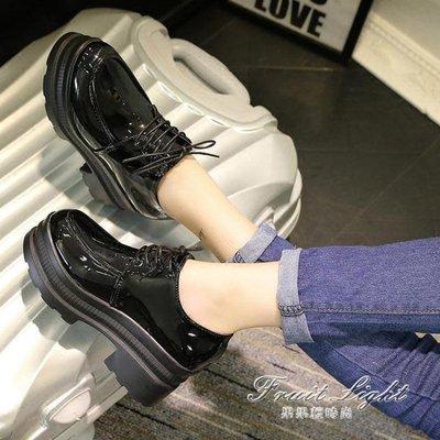 ☜男神閣☞鬆糕單鞋小皮鞋女春季復古鬆糕鞋厚底學生韓版高跟單鞋粗跟女鞋潮