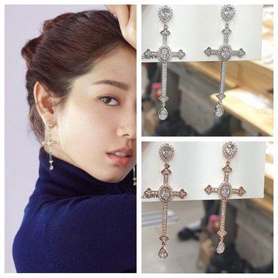 ☆~Candy Chi~ Shop~☆韓飾~韓國進口~朴信惠~阿爾罕布拉宮的回憶~精緻十字架耳環~預購