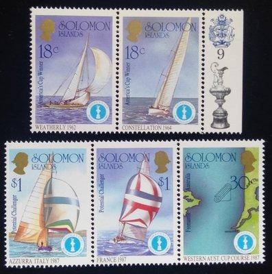 所羅門群島Solomon Islands郵票帆船郵票(Sailboat)1987年發行#3609全新特價