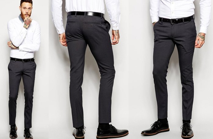 ◎美國代買◎ASOS超顯廋平面褲口窄管九分長西裝長褲~歐美街風~大尺碼