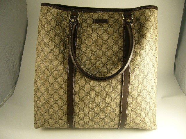 [吉宏精品交流中心]GUCCI 223668 PVC 咖啡色 直式 托特包 手提包 肩背包(1)