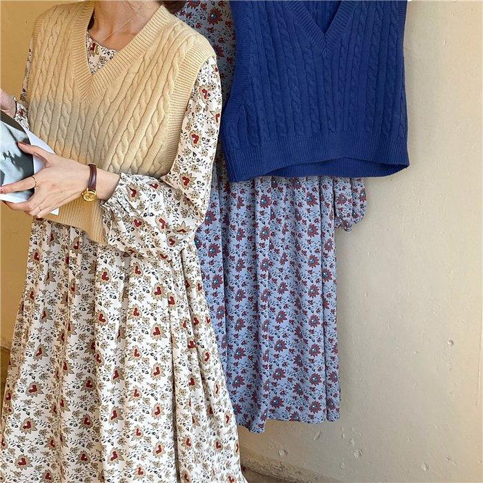 SeyeS  vivi基本款百搭毛線背心+碎花洋裝二件式套裝組合