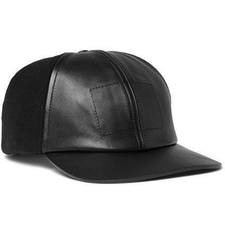 BALENCIAGA Panelled Wool-Blend Felt And Leather Baseball Cap